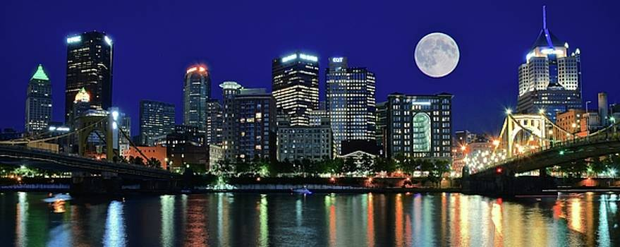 Pittsburgh Panoramic Night with Moon by Frozen in Time Fine Art Photography