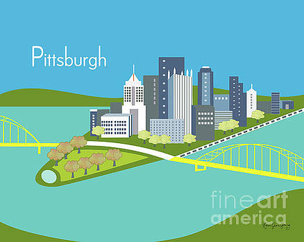 Pittsburgh Pennsylvania Horizontal Skyline - Blue by Karen Young