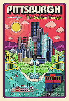 Pittsburgh Poster - Pop Art - Travel by Jim Zahniser
