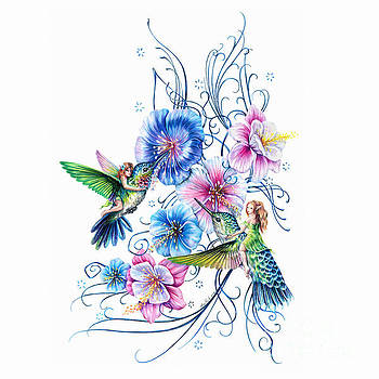 Pixies and Hummingbirds  by Anne Koivumaki - Fine Art Anne