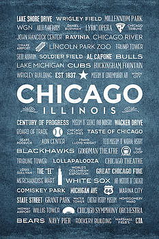 Places of Chicago on Blue Chalkboard by Christopher Arndt