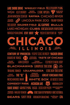 Places of Chicago Orange on Black by Christopher Arndt
