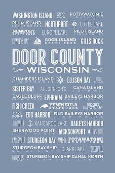 Places Of Door County On Light Blue by Christopher Arndt