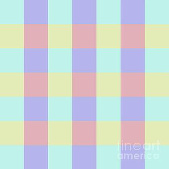 Plaid Blue Soft Yellow Rose Blush Lavender Cyan Tetradic Colour Blocks by Sharon Mau