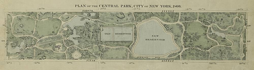 Plan of Central Park City of New York 1860 by Duncan Pearson