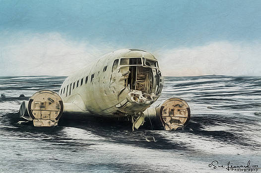 Painted effect - Plane on Solheimasandur beach by Susan Leonard