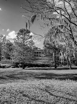 Plantation House with Spanish Moss One Black and White by Joshua House