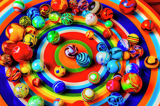 Plate With Colorful Marbles by Garry Gay