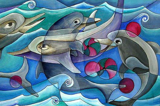 Playful Dolphins by Katey Sandy