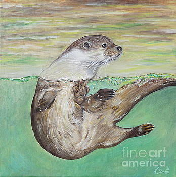 Playful River Otter by Kirsten Sneath