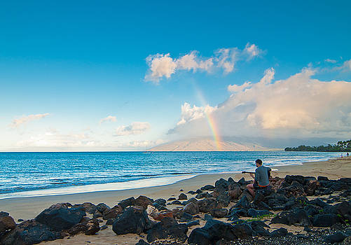 Playing to the Rainbow, Maui, Hawaii by Preston Broadfoot