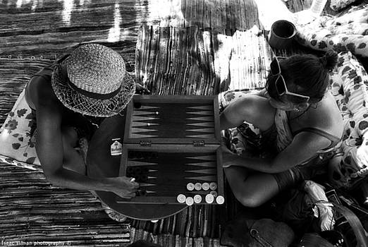 Isaac Silman - playng backgammon Sinai Egypt