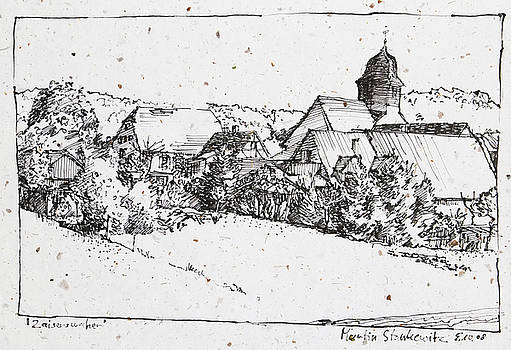Martin Stankewitz - plein air ink drawing rural village Zaisersweiher