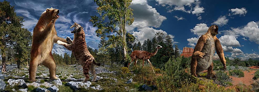 Pliocene - Pleistocene mural 2 by Julius Csotonyi