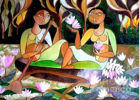 Plucking lotus in the lake by Ceylon Art Gallery