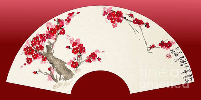 Plum Blossom in Fan by Birgit Moldenhauer