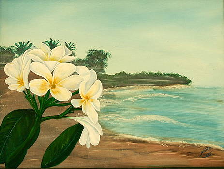 Plumeria on the Beach by Julia Ellis