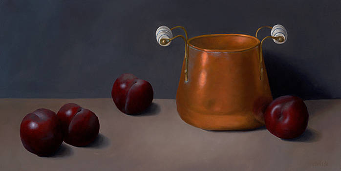 Plums with Cooper Pot by Christa Eppinghaus