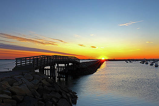Plymouth Harbor and Jetty Sunrise View by Juergen Roth
