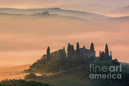 Podere Belvedere at Sunrise - Val d'Orcia - Italy by Henk Meijer Photography
