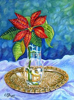 Caroline Street - Poinsettia on Brass Tray