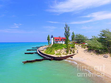 Point Betsie Lighthouse Endless Summer's Beauty Of Northern Michigan by Jack Martin
