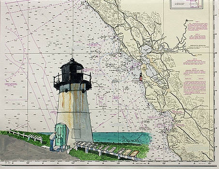 Point Montara Lighthouse on a NOAA Nautical Chart by Mike Robles