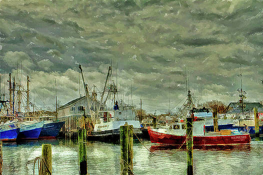 Point Pleasant New Jersey marina water color by Geraldine Scull
