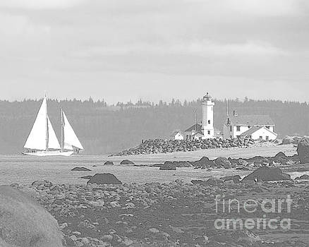 Point Wilson Lighthouse and Sailboat by Barbara Henry