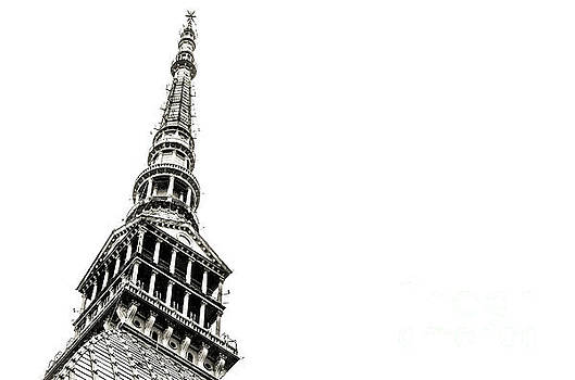 Pointed Tip Building Mole Antonelliana Turin Black And White Bac by Luca Lorenzelli