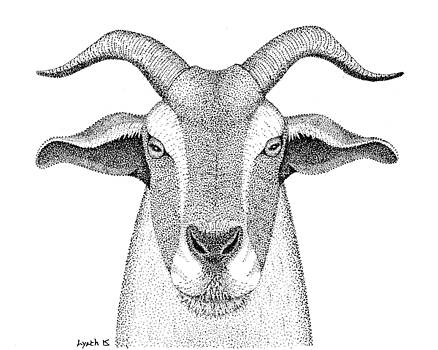 Farm Goat in Pointillism by Gerald Lynch