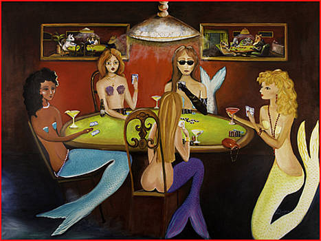 Poker Playing Mermaids by Theresa LaBrecque