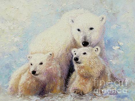 Polar Bear and Cubs by Vickie Wade
