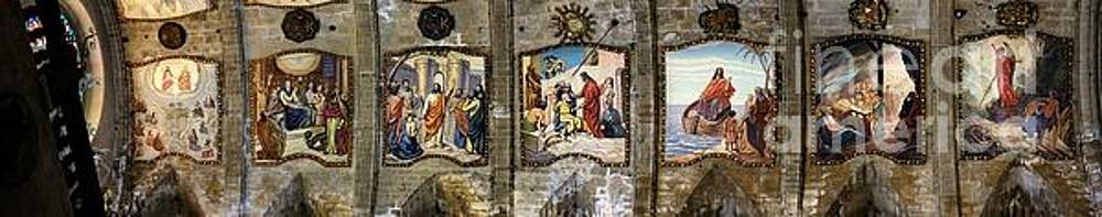 Pollenca Church Roof Paintings 2 by John Chatterley