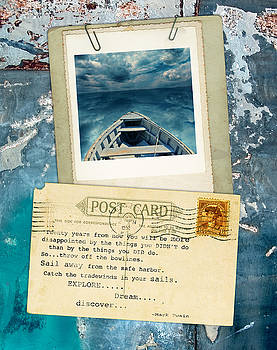 Jill Battaglia - Poloroid of Boat with Inspirational Quote