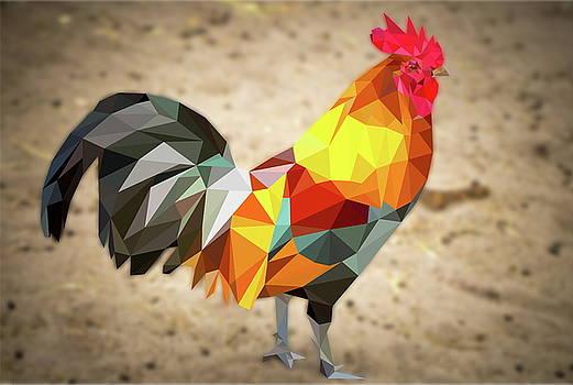 Polygonal Rooster Leghorn by Tatiana Tyumeneva