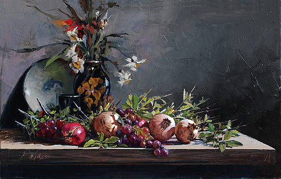 Pomegranate With A Black Vase by Demetrios Vlachos