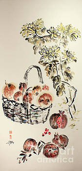 Pomegranates and Chrysanthemums - True Friends of Autumn  by Nadja Van Ghelue