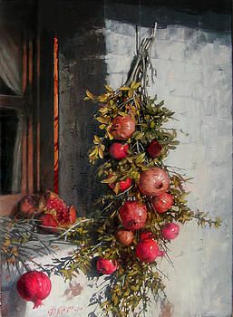 Pomegranates Beside An Old Window by Demetrios Vlachos