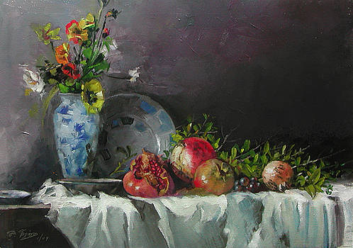 Pomegranates With A Blue Vase by Demetrios Vlachos