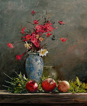 Pomegranates With Red Flowers by Demetrios Vlachos
