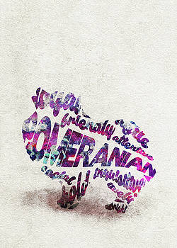 Pomeranian Dog Watercolor Painting / Typographic Art by Ayse and Deniz