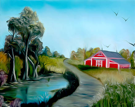 Claude Beaulac - Pond By The Red Barn Dreamy Mirage