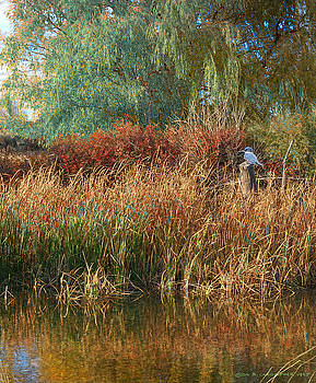 Pond Cattail Weeping Willow With Kingfisher by R christopher Vest
