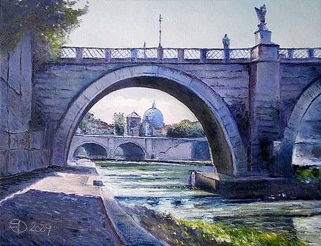Ponte Sant'Angelo Rome Italy 2009 by Enver Larney