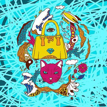 Pop Art Of Seven Cats In Tokyo by Kenal Louis