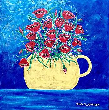 Poppy flowers love by Gina Nicolae Johnson