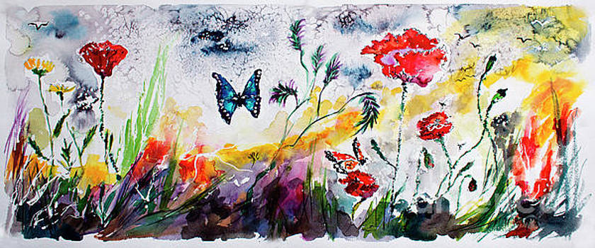 Ginette Callaway - Poppies and Butterflies Whimsical French Garden