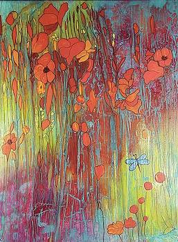 Poppies and Dragonfly by Cynthia Silverman