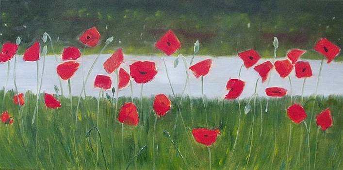 Poppies By The Lake by Karen Masters